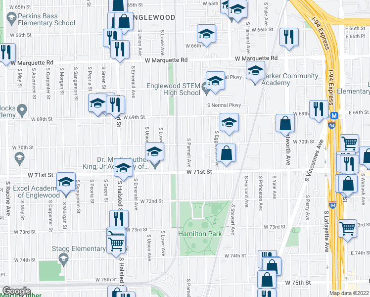 map of restaurants, bars, coffee shops, grocery stores, and more near 7000 South Parnell Avenue in Chicago