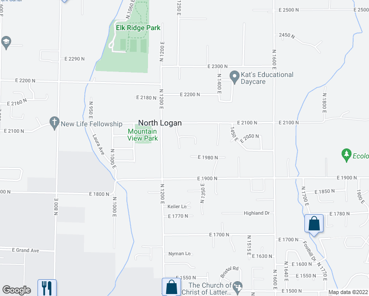 map of restaurants, bars, coffee shops, grocery stores, and more near 1300 North 1250 East in North Logan