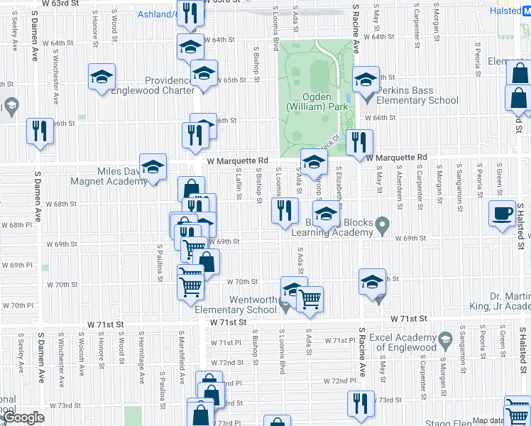 map of restaurants, bars, coffee shops, grocery stores, and more near 6817 South Bishop Street in Chicago