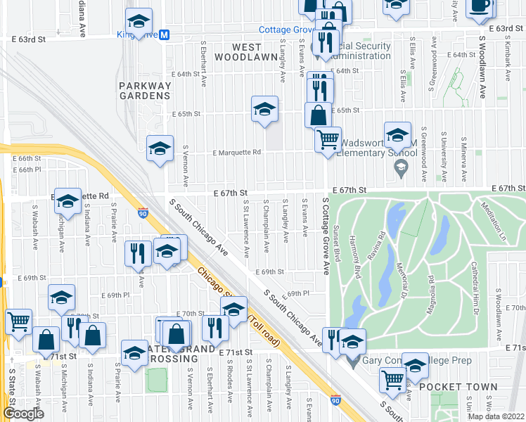 map of restaurants, bars, coffee shops, grocery stores, and more near 6746 S Champlain Ave in Chicago