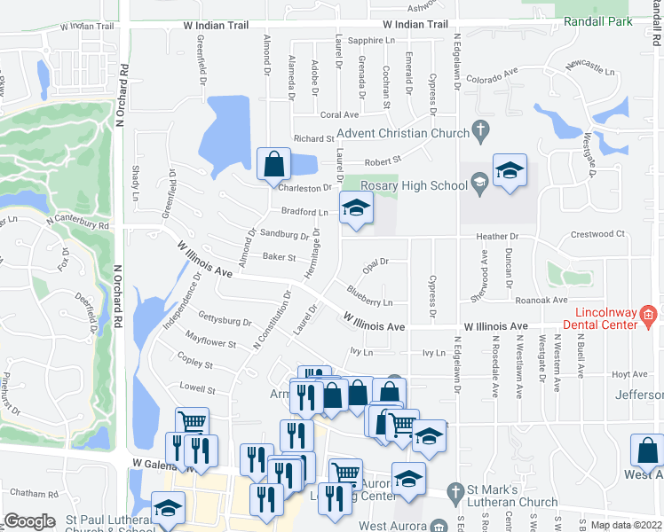 map of restaurants, bars, coffee shops, grocery stores, and more near 790 Laurel Drive in Aurora