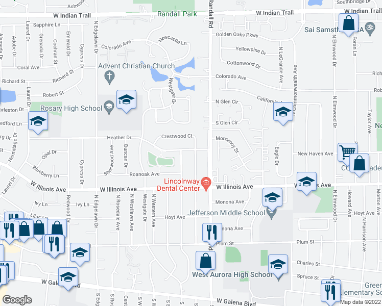 map of restaurants, bars, coffee shops, grocery stores, and more near 746 North Glenwood Place in Aurora