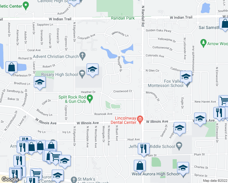 map of restaurants, bars, coffee shops, grocery stores, and more near 1555 Crestwood Court in Aurora