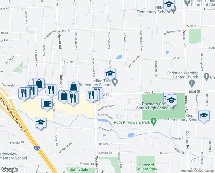 map of restaurants, bars, coffee shops, grocery stores, and more near 6236 Stonewall Avenue in Downers Grove