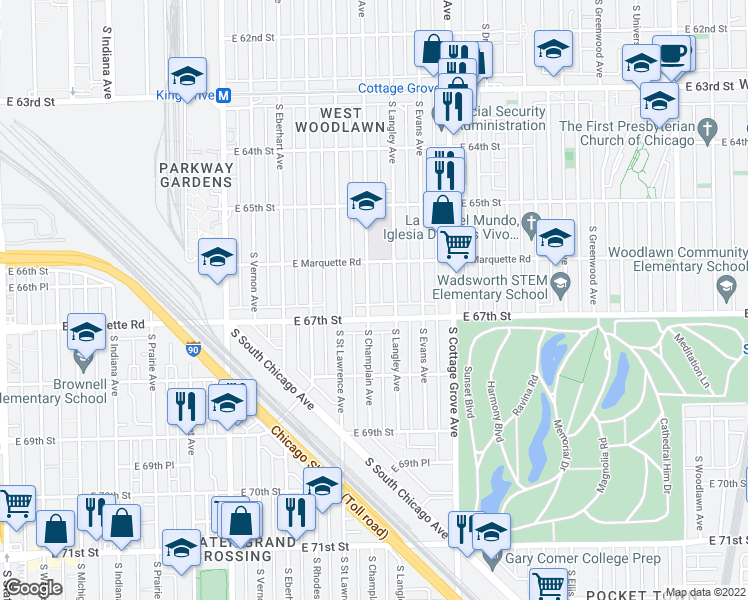 map of restaurants, bars, coffee shops, grocery stores, and more near 6641 South Champlain Avenue in Chicago