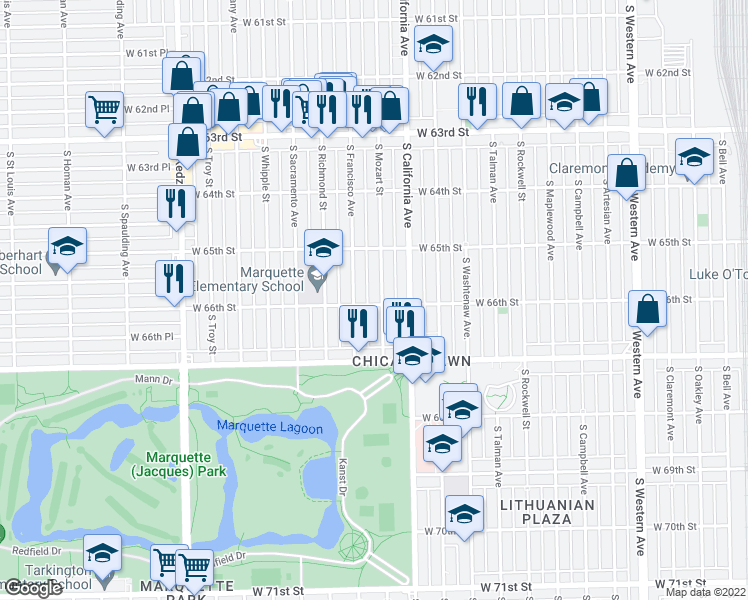 map of restaurants, bars, coffee shops, grocery stores, and more near 6558 South Mozart Street in Chicago