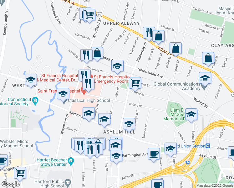 map of restaurants, bars, coffee shops, grocery stores, and more near 20 May Street in Hartford