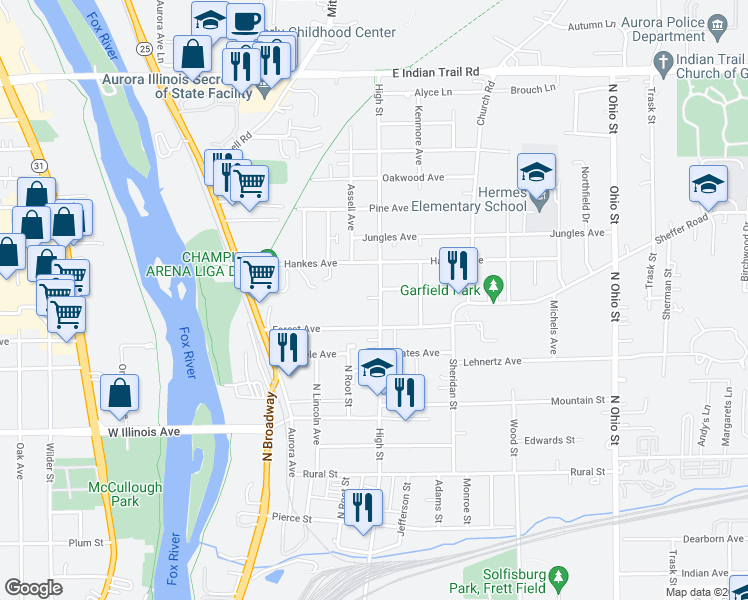 map of restaurants, bars, coffee shops, grocery stores, and more near 822 High Street in Aurora