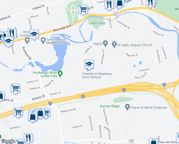 map of restaurants, bars, coffee shops, grocery stores, and more near 109-165 Great Hill Road in East Hartford