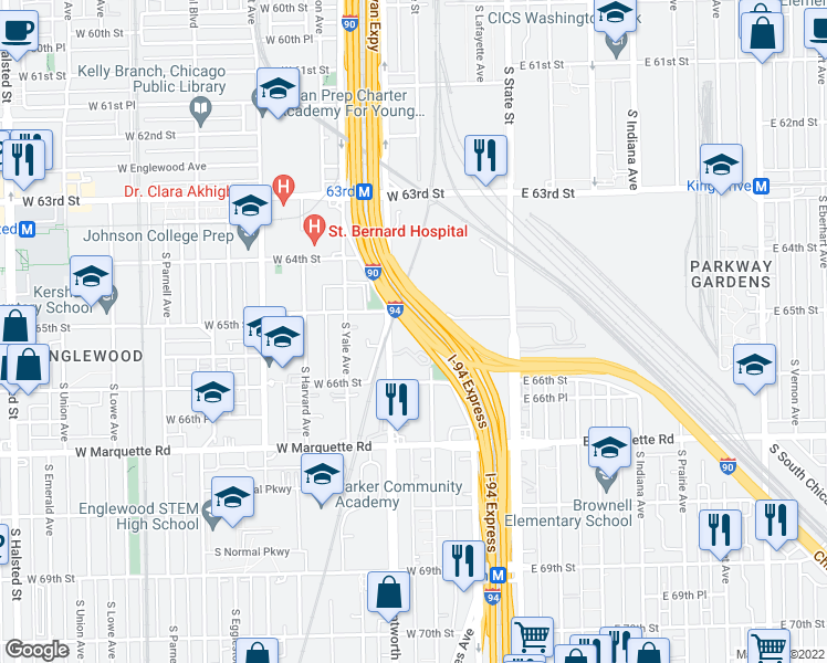 map of restaurants, bars, coffee shops, grocery stores, and more near Dan Ryan Expressway in Chicago