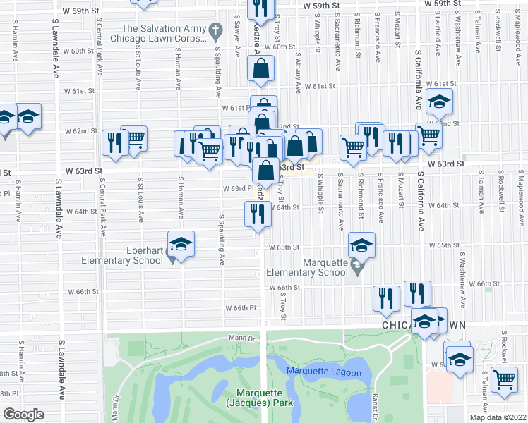 map of restaurants, bars, coffee shops, grocery stores, and more near 6405 South Kedzie Avenue in Chicago