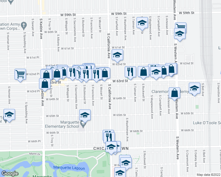 map of restaurants, bars, coffee shops, grocery stores, and more near 6329 South California Avenue in Chicago