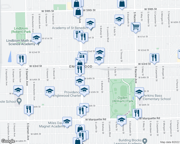 map of restaurants, bars, coffee shops, grocery stores, and more near 6331 South Justine Street in Chicago
