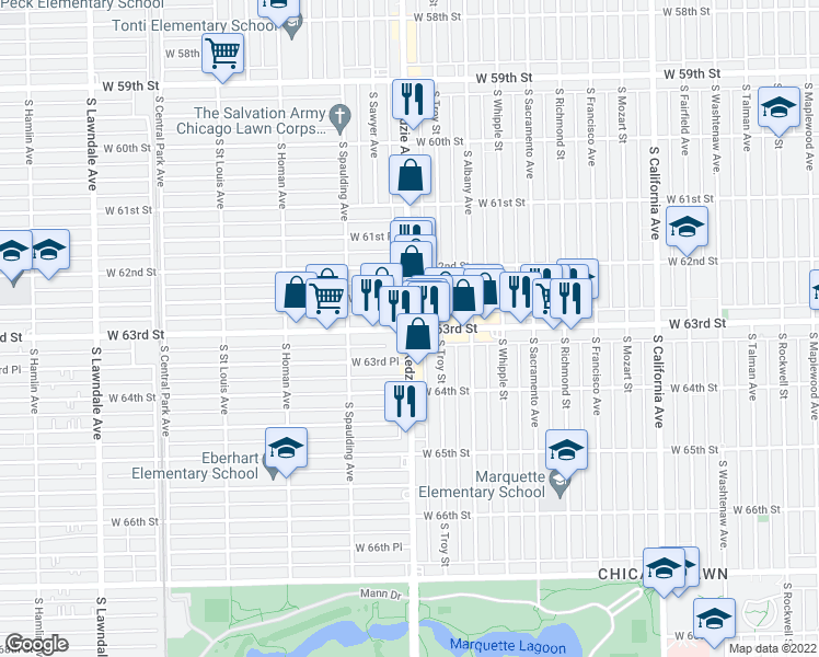 map of restaurants, bars, coffee shops, grocery stores, and more near S Kedzie Ave & W 63rd St in Chicago