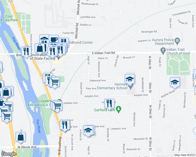 map of restaurants, bars, coffee shops, grocery stores, and more near 1054 Kenmore Avenue in Aurora