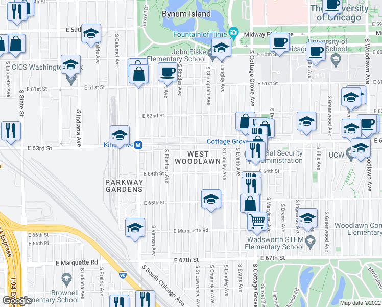 map of restaurants, bars, coffee shops, grocery stores, and more near 6318 South Street Lawrence Avenue in Chicago