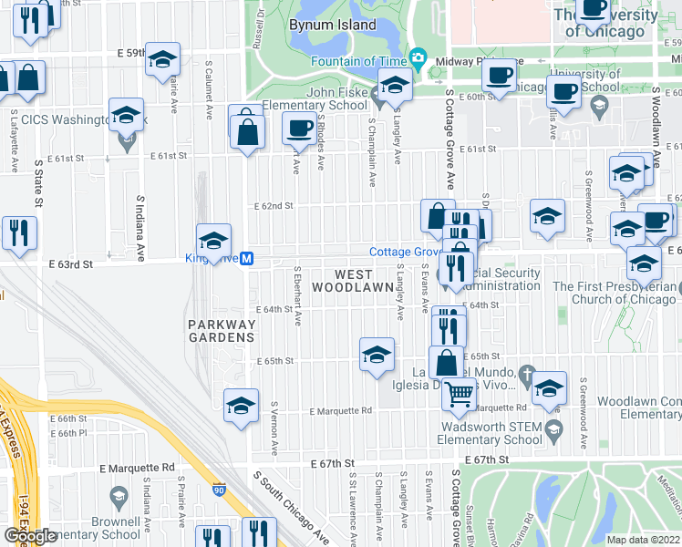 map of restaurants, bars, coffee shops, grocery stores, and more near 6318 S St Lawrence Ave in Chicago