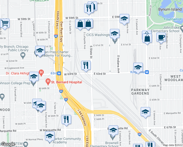 map of restaurants, bars, coffee shops, grocery stores, and more near S State St in Chicago
