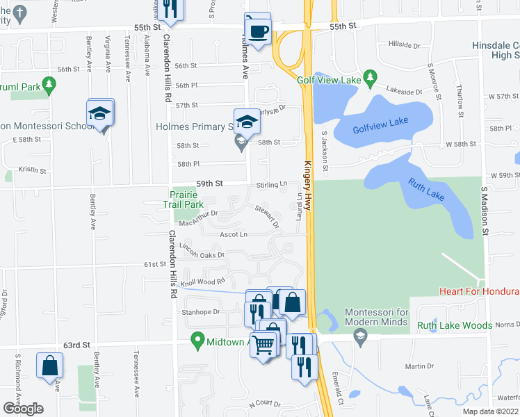 map of restaurants, bars, coffee shops, grocery stores, and more near 6060 Laurel Lane in Willowbrook