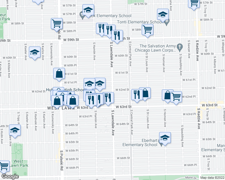 map of restaurants, bars, coffee shops, grocery stores, and more near West 62nd Street in Chicago