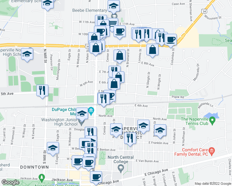 map of restaurants, bars, coffee shops, grocery stores, and more near 201-299 East 5th Avenue in Naperville