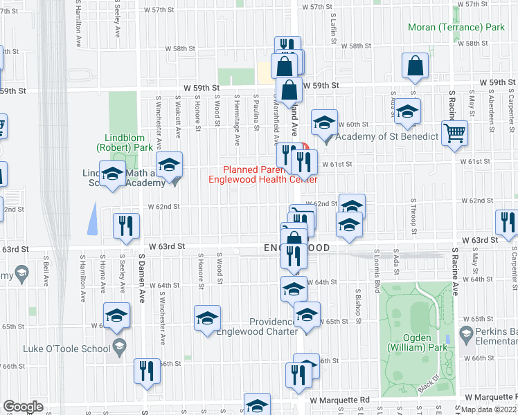 map of restaurants, bars, coffee shops, grocery stores, and more near 6206 South Marshfield Avenue in Chicago
