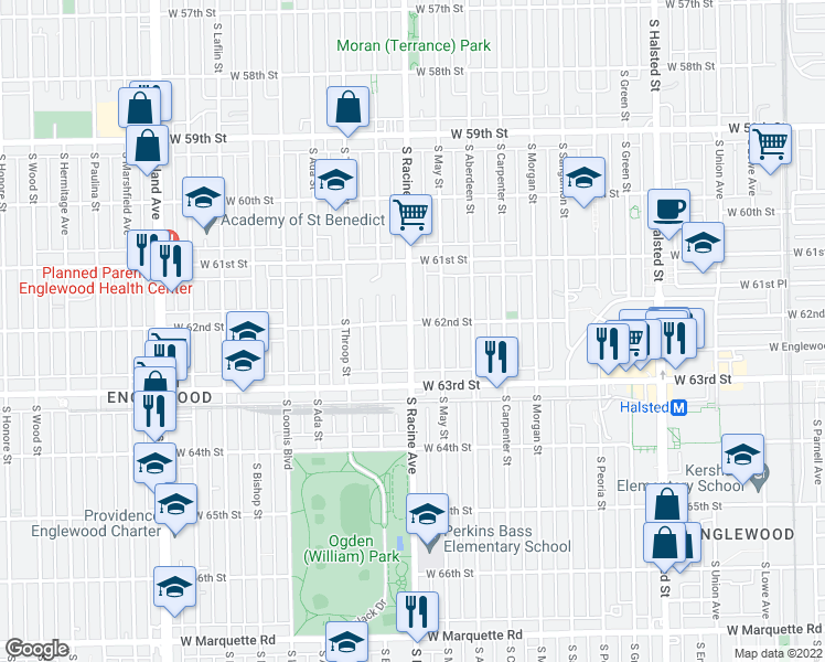 map of restaurants, bars, coffee shops, grocery stores, and more near 6211 South Racine Avenue in Chicago