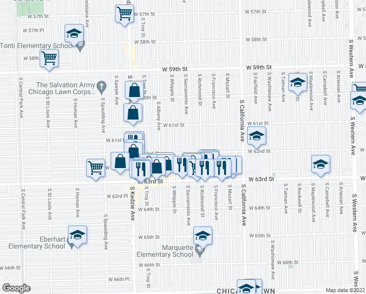 map of restaurants, bars, coffee shops, grocery stores, and more near 6148 South Sacramento Avenue in Chicago