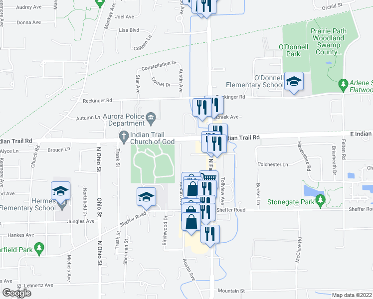 map of restaurants, bars, coffee shops, grocery stores, and more near 1301 East Indian Trail in Aurora
