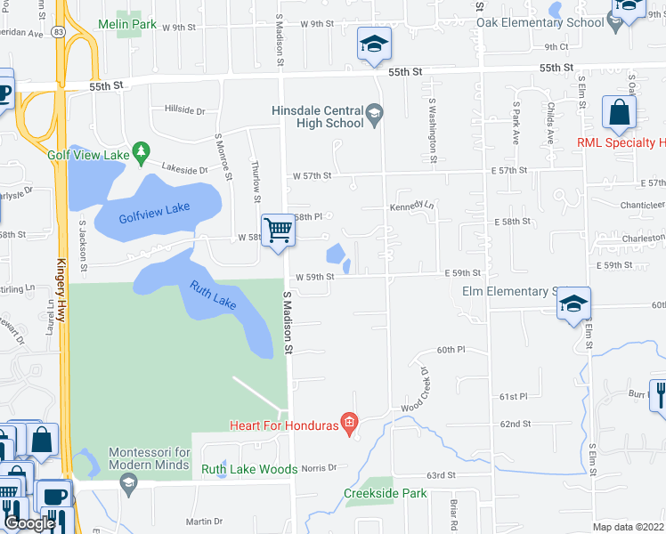 map of restaurants, bars, coffee shops, grocery stores, and more near 301 West 59th Street in Hinsdale