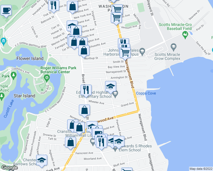 map of restaurants, bars, coffee shops, grocery stores, and more near 123 Pawtuxet Avenue in Cranston