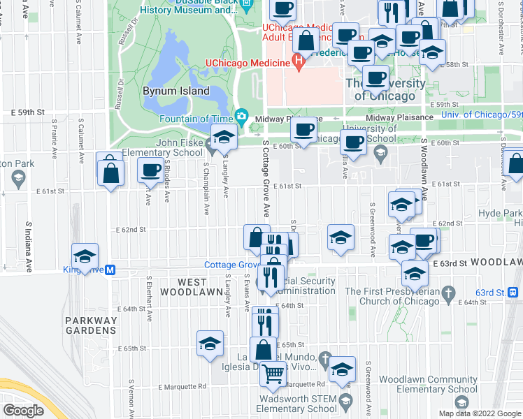 map of restaurants, bars, coffee shops, grocery stores, and more near 6134 South Cottage Grove Avenue in Chicago
