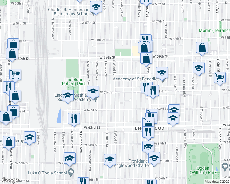 map of restaurants, bars, coffee shops, grocery stores, and more near W 61st St in Chicago