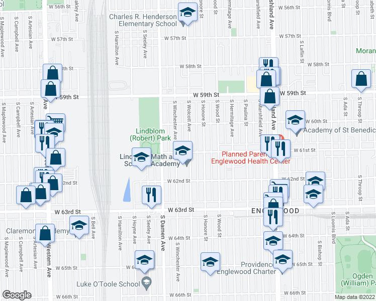 map of restaurants, bars, coffee shops, grocery stores, and more near 1904 West 61st Street in Chicago