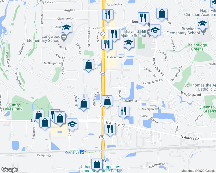 map of restaurants, bars, coffee shops, grocery stores, and more near 951 Sheridan Circle in Naperville