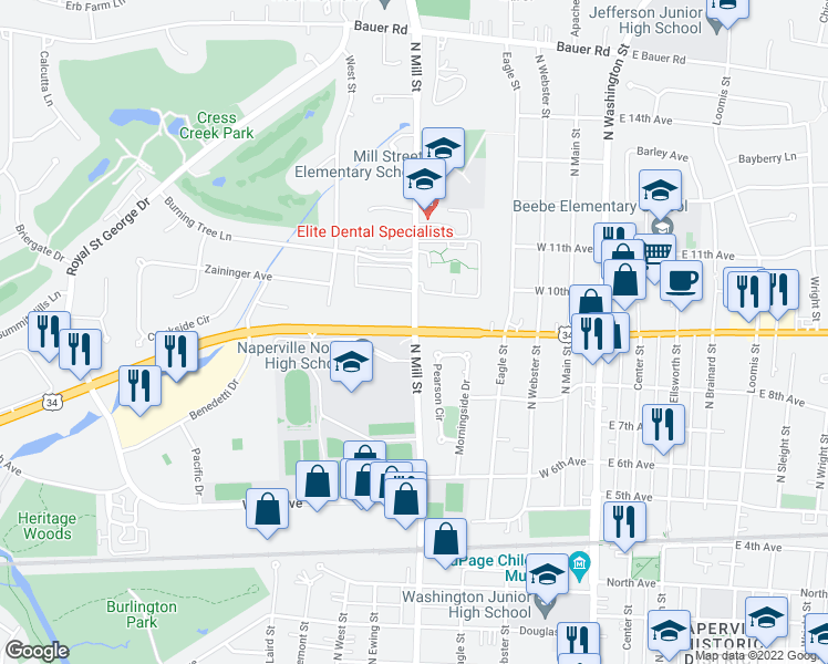 map of restaurants, bars, coffee shops, grocery stores, and more near West Ogden