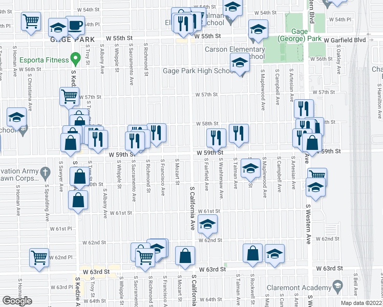 map of restaurants, bars, coffee shops, grocery stores, and more near 5832 South California Avenue in Chicago