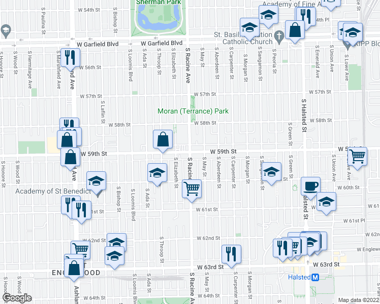 map of restaurants, bars, coffee shops, grocery stores, and more near S Racine Ave & W 59th St in Chicago