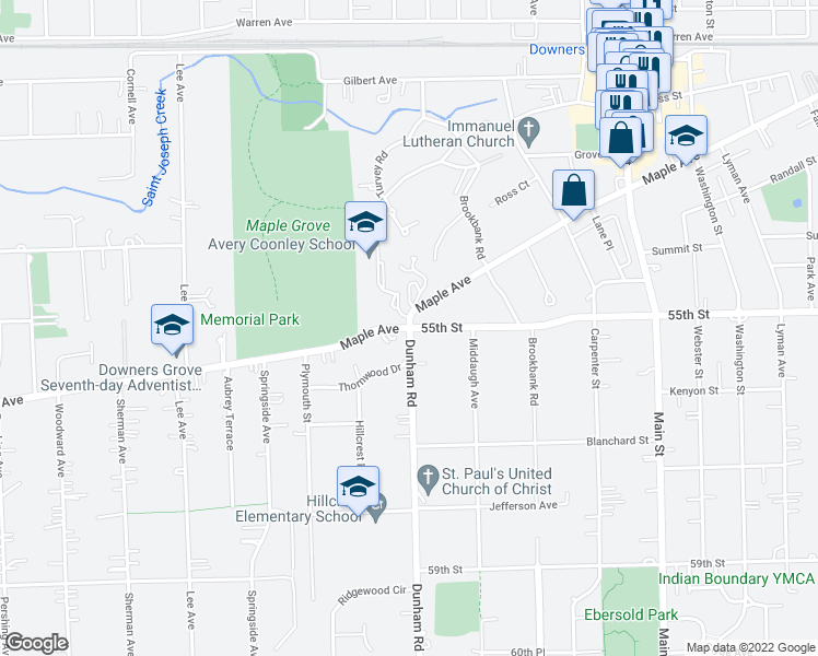 map of restaurants, bars, coffee shops, grocery stores, and more near 5505 Dunham Road in Downers Grove