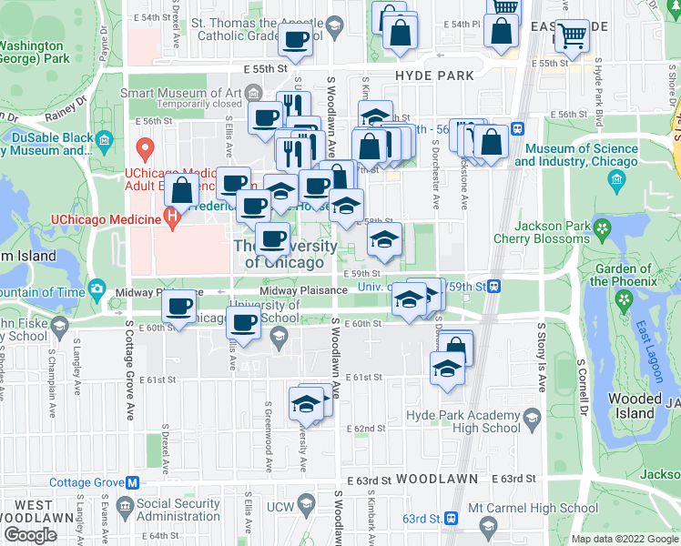 map of restaurants, bars, coffee shops, grocery stores, and more near 1212 East 59th Street in Chicago