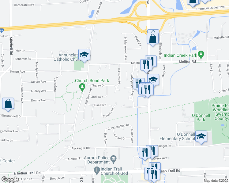map of restaurants, bars, coffee shops, grocery stores, and more near 1676 Shamrock Court in Aurora