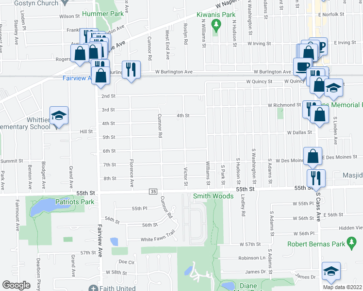 map of restaurants, bars, coffee shops, grocery stores, and more near 5314 Victor Street in Downers Grove