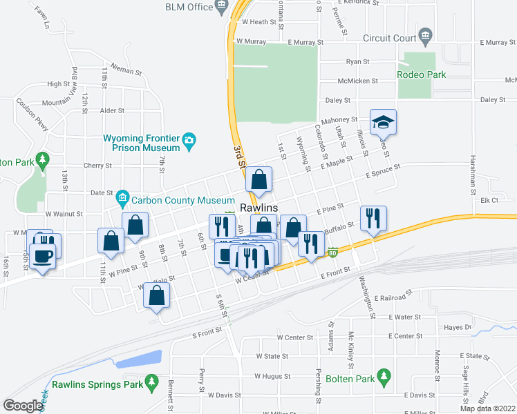 map of restaurants, bars, coffee shops, grocery stores, and more near 106 5th Street in Rawlins