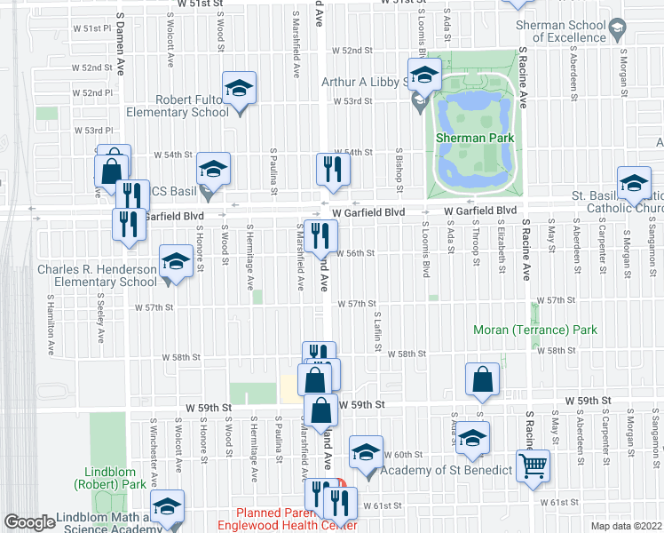 map of restaurants, bars, coffee shops, grocery stores, and more near 5629 South Ashland Avenue in Chicago