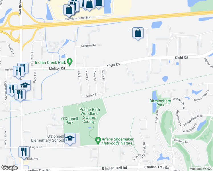 map of restaurants, bars, coffee shops, grocery stores, and more near 1715 Felten Road in Aurora