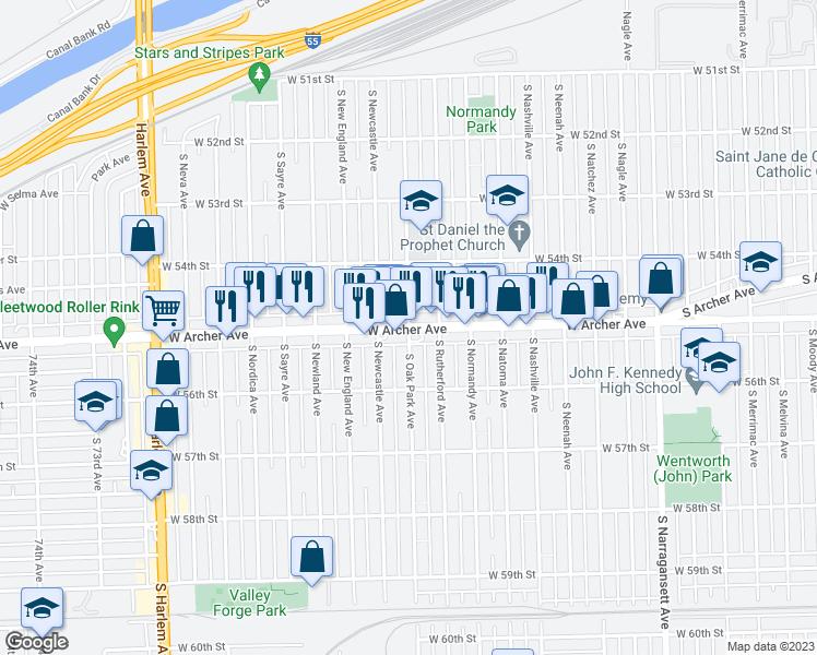 Oak Park Chicago Map.S Archer Ave S Oak Park Ave Chicago Il Walk Score