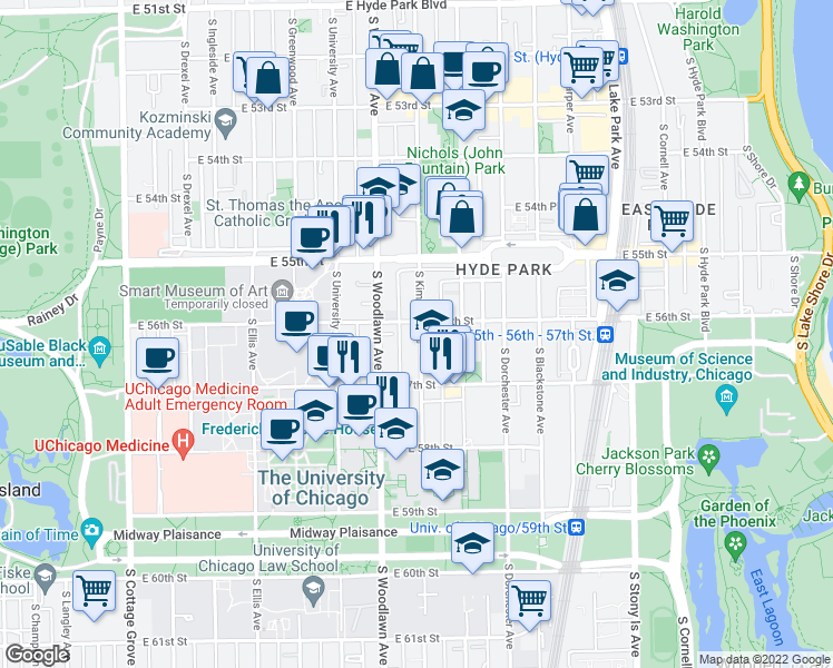 map of restaurants, bars, coffee shops, grocery stores, and more near 5616 South Kimbark Avenue in Chicago