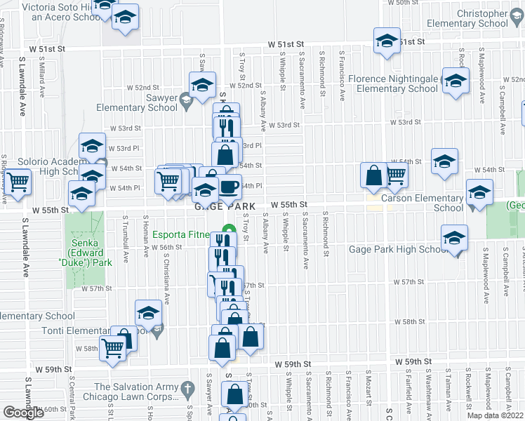 map of restaurants, bars, coffee shops, grocery stores, and more near 5504 South Albany Avenue in Chicago