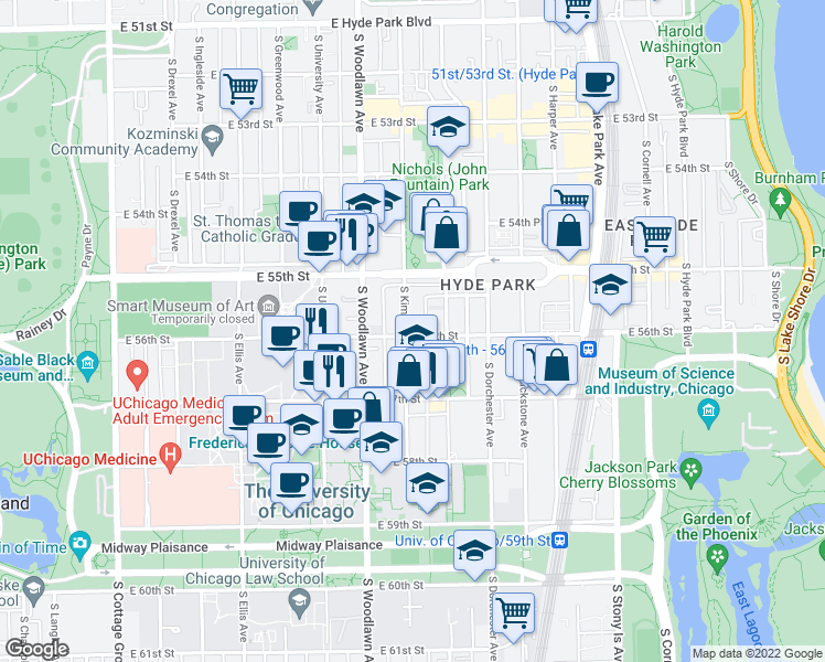 map of restaurants, bars, coffee shops, grocery stores, and more near 1302 East 56th Street in Chicago