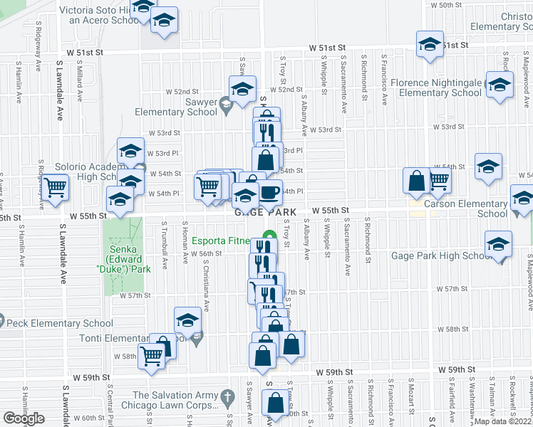 map of restaurants, bars, coffee shops, grocery stores, and more near 5501 S Kedzie Ave in Chicago